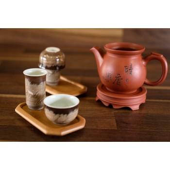 Teeschalenset mit Duftbecher, braun